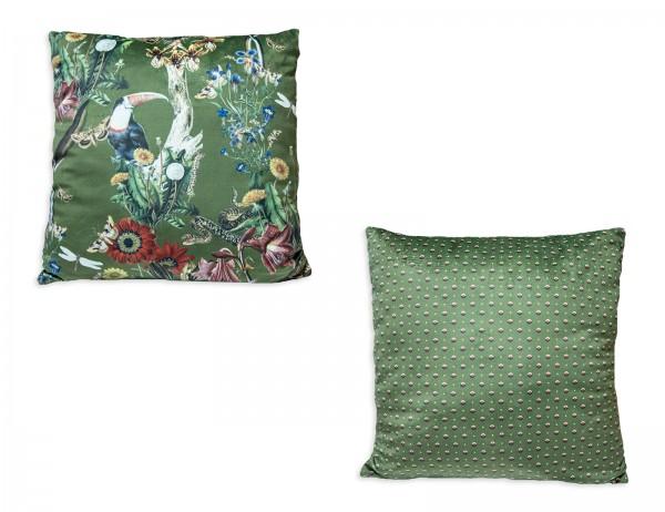 Essenza Kissen Airen in grün oder rot mit Tiermotiven, 50x50 cm, mit Reißverschluss