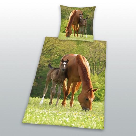 Pferdebettwäsche Stute mit Fohlen