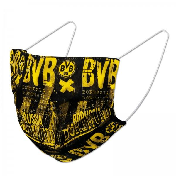 BVB Behelfs-Gesichts-Maske Borussia Dortmund Design schwarz