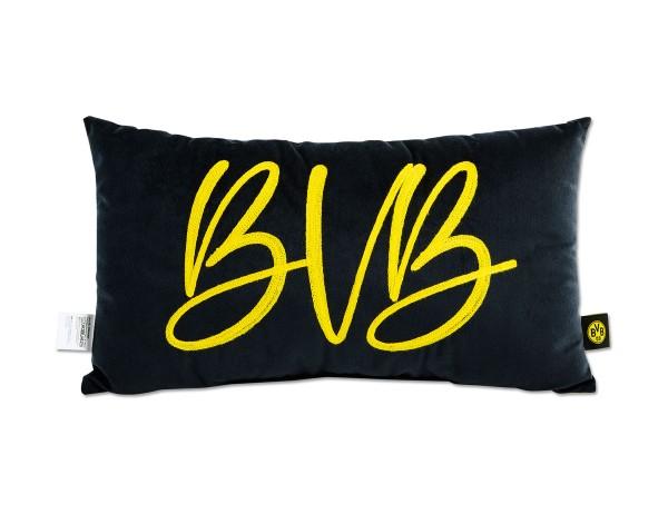 BVB Fankissen, schwarz mit gellben BVB-Schriftzug, der aus einer Kordel gebildet wird, 45x26 cm