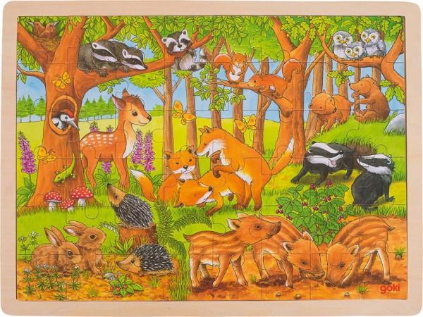 Gollnest & Kiesel Einlegepuzzle Tierkinder im Wald