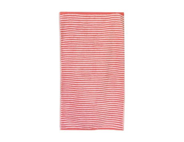 CAWÖ Campus Fb.20, melone/weiß.gestreift, Handtuch 50x100 cm, Duschtuch 70x140 cm, reine Baumwolle