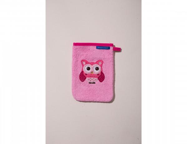 Waschhandschuh in rosa,blau oder grau mit Eulenmotiv