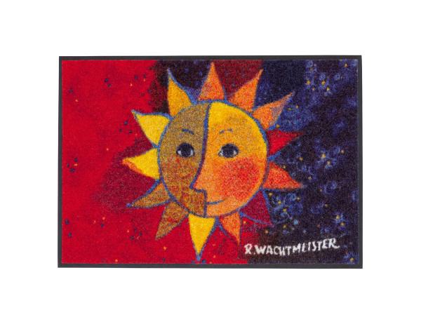 Salonloewe Fußmatte Sole, Rot, Blau mit großem Sonnenmotiv, 50x75cm, PVC-frei