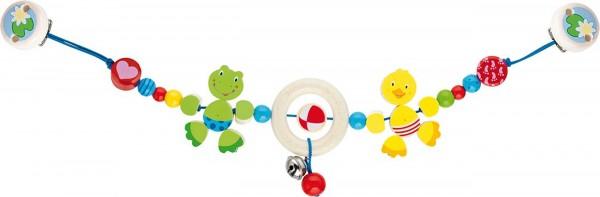 Gollnest & Kiesel Kinderwagenkette Ente und Frosch mit Clips