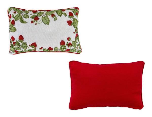 Sander Kissen Strawberries, Wendedesign, Vorderseite Motivv Erdbeeren, Rückseite rot, 32x48cm, mit Reißverschluss
