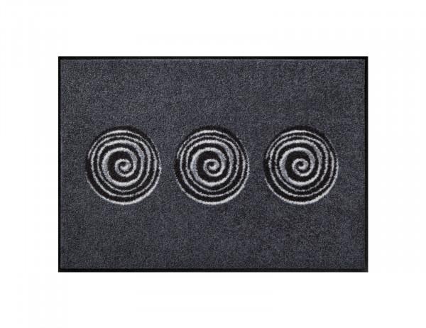 Salonloewe Fußmatte, 50x75 cm, schwarz, anthrazit, Spiralkreise, rutschfest