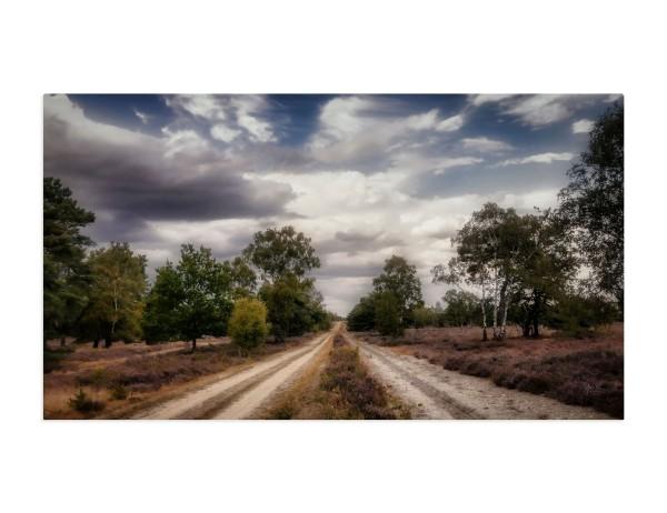 Fotografie auf Leinwand, 100x50 cm, Osterheide bewölkt