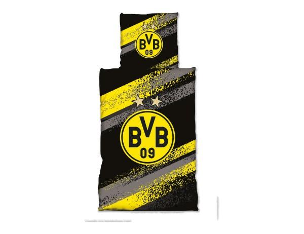 BVB Bettwäsche Graffiti Streifen, 135x200 cm, BVB-Logo, schwarz/gelbe Graffitistreifen, KnKnopfleiste