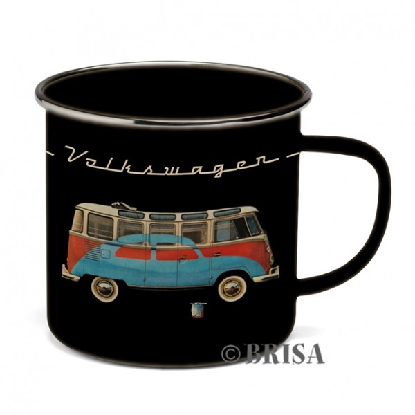 Bulli Emaille-Kaffeetasse Käfer & Bulli