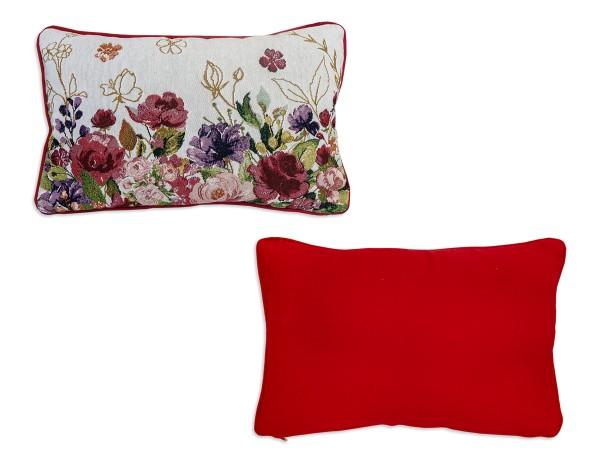 Sander Kissen In Bloom, bunte Blumen, naturweißer Hintergrund, Wendedesign, rote Rückseite, 32x48 cm