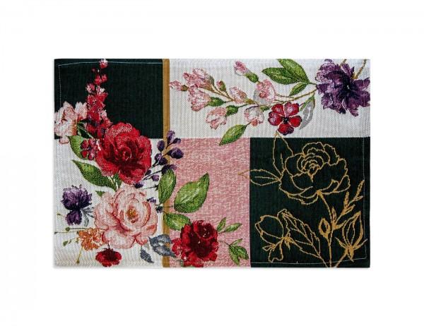 Sander Platzset, Gobelinart, Patchwork-Stil mit Rosen und Blüten, grün, weiß,rot, 32x48 cm
