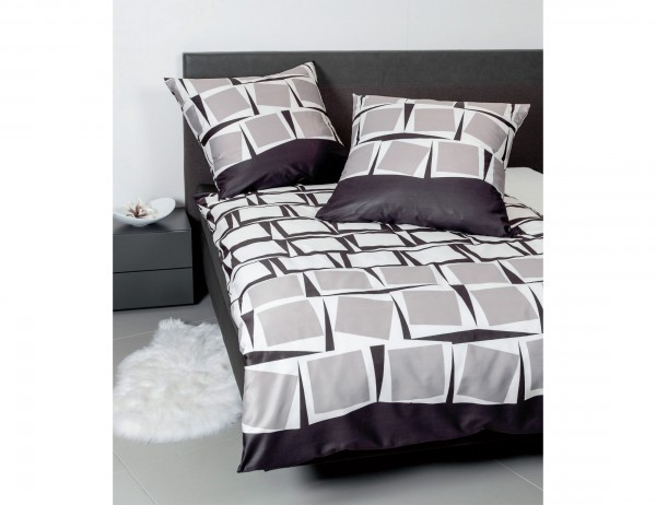 Janine Battwäsche schwarz/grau/weiß, grafisches Muster, asymetrische Quadrate, Baumwolle, Mako-Satin, Reißverschluss