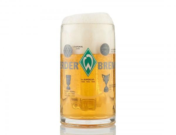 SV Werder Bremen Bierglas, 0,4 LTR. Füllmenge, Logo, Schriftzug und Erfolge als Motive Vorderseite