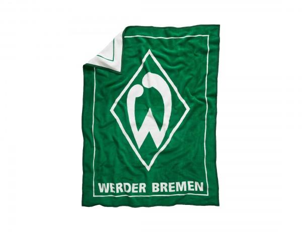Werder Bremen Kucheldecke, grün mit großer weißer Raute und Werder-Logo, 150x200 cm