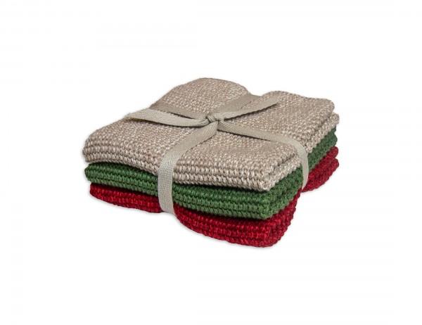 Sander Küchentuch 3er-Set, beige, grün, rot, reine Baumwolle, 25x25 cm