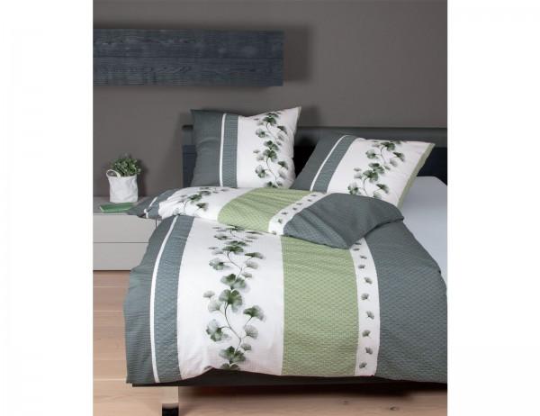 Janine Bettwäsche Tango 20077-08, grün/weiß, florales Muster mit grafischen Elementen, Baumwolle, Seersucker, Reißverschluss
