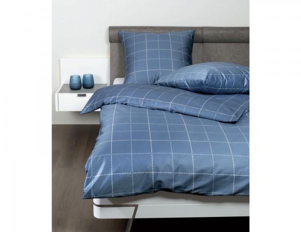 Janine J.D. Bettwäsche 87062-2, blau, mit grafischem Muster, feine Karos, Baumwolle, Mako-Satin, mit Reißverschluss