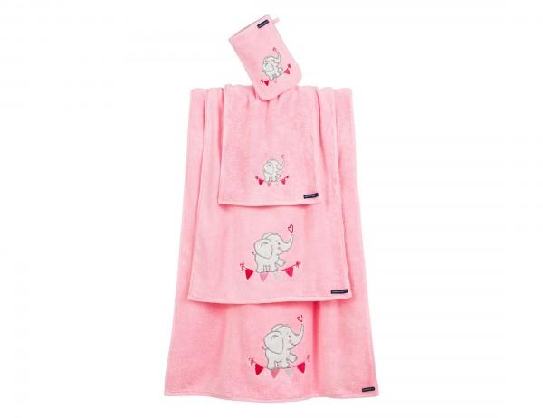 Morgenstern Duschtuch Elefant, rosa mit Motiv Elefant, 70x140 cm, Baumwolle, Frottier