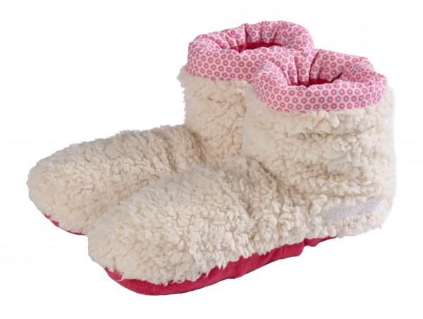 Warmies Slippes® Boots Shepra beige / rot Gr. 37-42