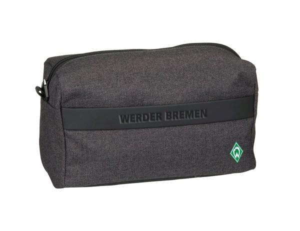 Werder Bremen Kulturtasche, anthrazit, ca. 12x28x14,5 cm, mit Reißverschluss, Vorderseide, Kunstlederstreifen mit Werder Schriftzug