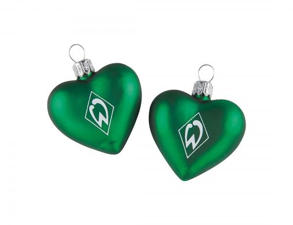 Werder Bremen Glasherzen, Christbaumschmuck, grün mit weißer Werder Raute auf der Vorderseite