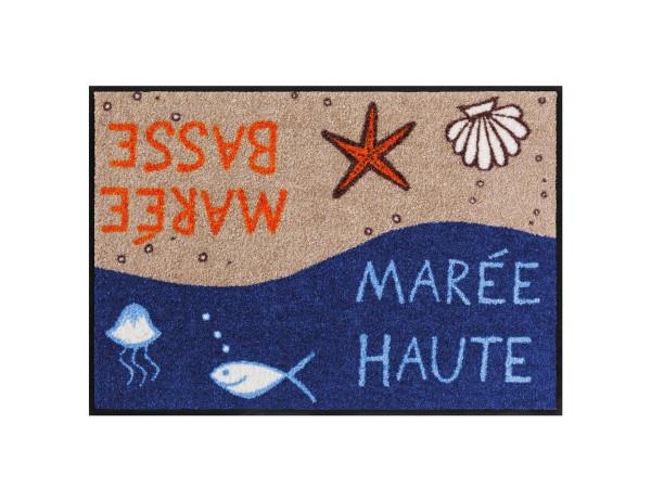 Salonloewe Fußmatte im maritimen Stil, mit Schriftzug, Motiv Ebbe und Flut, 50x75 cm