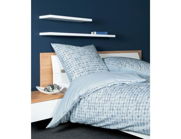 Janine Bettwäsche Moments, hellblau, grafisches Muster, Halbkreise, Baumwolle, Mako-Satin, mit Reißverschluss