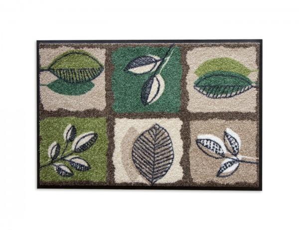 Salonloewe Fussmatte Green Spirit, warme Erdtöne mit Blättermotiven, 50x75 cm