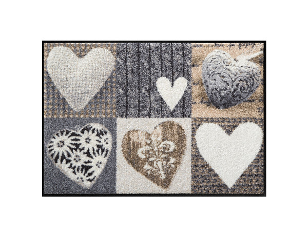 Salonlöwe Fußmatte, Alpenglück Herzen, braun/beige, mit Herzen und verschiedenen Mustern, 50x75 cm
