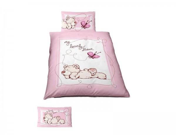 Ido Dobnig NICI Kinder Renforcé Bettwäsche Lovely Bear Rosa