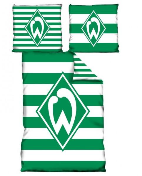 Werder Bremen Fan-Bettwäsche Streifen Wendemotiv